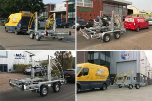Drie boorbedrijven bevoorraad met  specifieke haspelwagens t.b.v. HDD